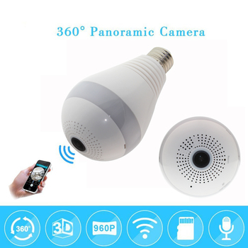 960P 1080p 360 degree Wireless IP Camera Bulb Light FishEye Smart Home CCTV Camera 1.3MP Home Security WiFi Camera Panoramic