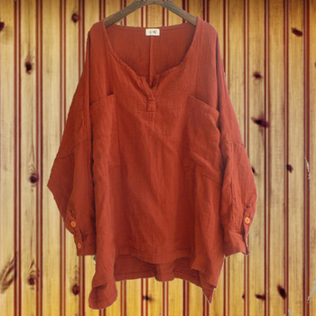 Hot spring sales loose big yards long sleeve cotton, linen shirt
