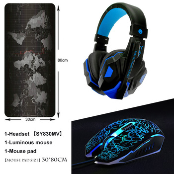 3 adet/combo Soyto No.830-4 Gaming Headset Kulaklık için Mic + ile 300*800 CM Mousepad PC + USB Optik Kablolu Gaming Mouse Fare