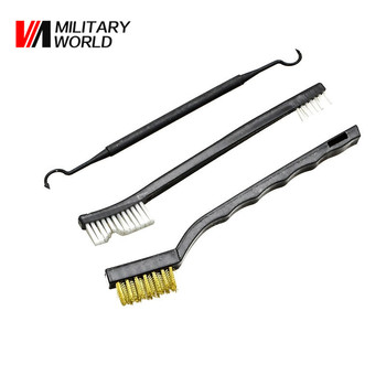 3pcs/pack Airsoft Rifle Gun Cleaning Brush Tool Tactical Pistol Shotgun Clean Kit Double Ended Nylon Pick Hunting Accessories