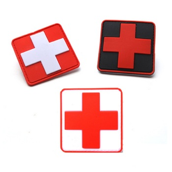 100pcs/lot 3D PVC Glue Red Cross medical rescue morale patch Tactical Army Morale Badge Red Cross medical rescue Logo patches
