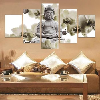5 Panels HD Printed White Stone Buddha Painting Canvas Print Room decor print poster Picture Canvas P0694
