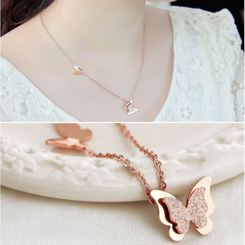 Summer Style Smart Butterfly Pendant Necklace For Woman Titanium Steel Rose Gold Color Fashion Jewelry Gift